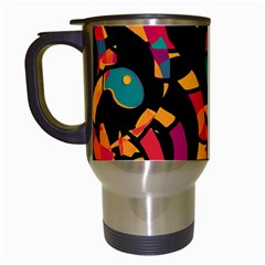 Colorful Snakes Travel Mugs (white) by Valentinaart