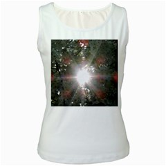 Sun Rays Through White Cherry Blossoms Women s White Tank Top by picsaspassion