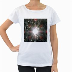 Sun Rays Through White Cherry Blossoms Women s Loose Fit T Shirt (white) by picsaspassion