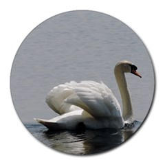 Swimming White Swan Round Mousepads by picsaspassion