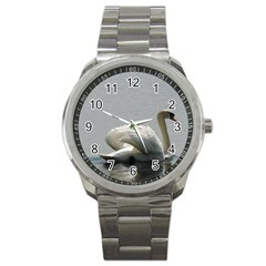 Swimming White Swan Sport Metal Watch by picsaspassion
