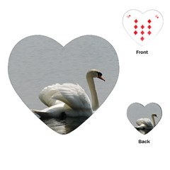 Swimming White Swan Playing Cards (heart)  by picsaspassion