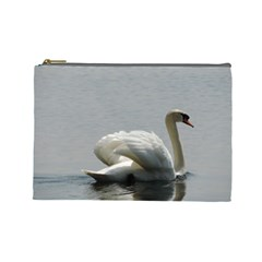Swimming White Swan Cosmetic Bag (large)  by picsaspassion