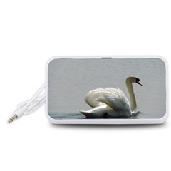 Swimming white Swan Portable Speaker (White)  by picsaspassion