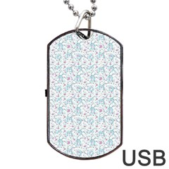 Intricate Floral Collage  Dog Tag Usb Flash (one Side) by dflcprints