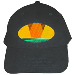 Orange And Green Landscape Black Cap by Valentinaart