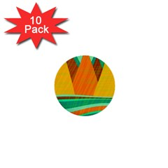 Orange And Green Landscape 1  Mini Buttons (10 Pack)  by Valentinaart