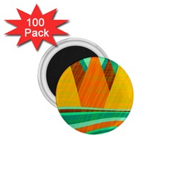 Orange And Green Landscape 1 75  Magnets (100 Pack)  by Valentinaart