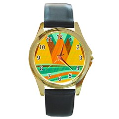 Orange And Green Landscape Round Gold Metal Watch by Valentinaart