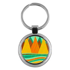 Orange And Green Landscape Key Chains (round)  by Valentinaart