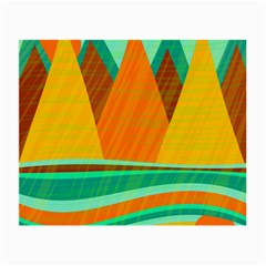 Orange And Green Landscape Small Glasses Cloth by Valentinaart