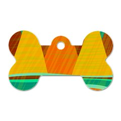 Orange And Green Landscape Dog Tag Bone (one Side) by Valentinaart