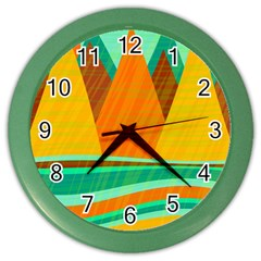 Orange And Green Landscape Color Wall Clocks by Valentinaart