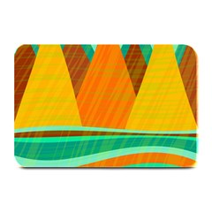 Orange And Green Landscape Plate Mats by Valentinaart