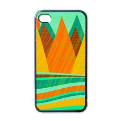 Orange And Green Landscape Apple Iphone 4 Case (black) by Valentinaart