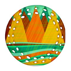Orange And Green Landscape Ornament (round Filigree)  by Valentinaart
