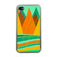 Orange And Green Landscape Apple Iphone 4 Case (clear) by Valentinaart