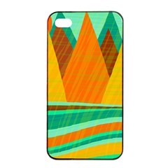 Orange And Green Landscape Apple Iphone 4/4s Seamless Case (black) by Valentinaart
