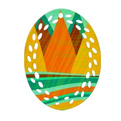 Orange And Green Landscape Ornament (oval Filigree)  by Valentinaart