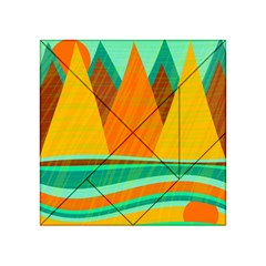 Orange And Green Landscape Acrylic Tangram Puzzle (4  X 4 ) by Valentinaart
