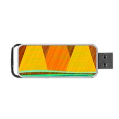 Orange And Green Landscape Portable Usb Flash (one Side) by Valentinaart