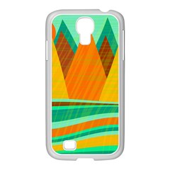 Orange And Green Landscape Samsung Galaxy S4 I9500/ I9505 Case (white) by Valentinaart