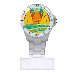 Orange And Green Landscape Plastic Nurses Watch by Valentinaart