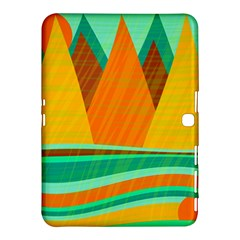 Orange and green landscape Samsung Galaxy Tab 4 (10.1 ) Hardshell Case  by Valentinaart