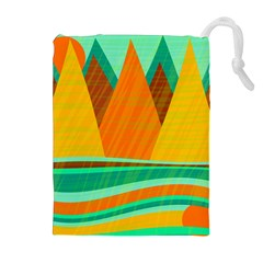 Orange And Green Landscape Drawstring Pouches (extra Large) by Valentinaart
