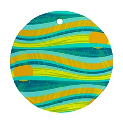 Yellow And Blue Decorative Design Ornament (round)  by Valentinaart