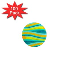 Yellow And Blue Decorative Design 1  Mini Magnets (100 Pack)  by Valentinaart