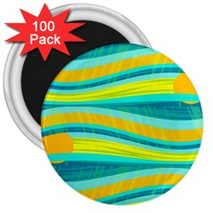 Yellow And Blue Decorative Design 3  Magnets (100 Pack) by Valentinaart