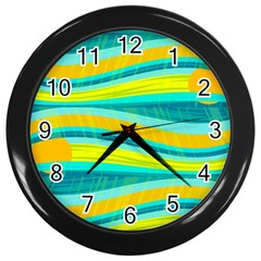 Yellow And Blue Decorative Design Wall Clocks (black) by Valentinaart