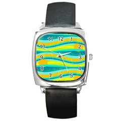 Yellow And Blue Decorative Design Square Metal Watch by Valentinaart