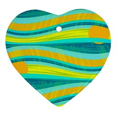 Yellow And Blue Decorative Design Heart Ornament (2 Sides) by Valentinaart