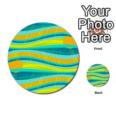 Yellow And Blue Decorative Design Multi Purpose Cards (round)  by Valentinaart
