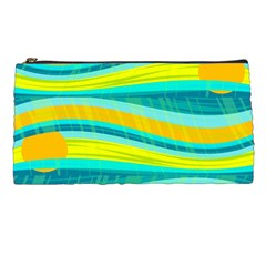 Yellow And Blue Decorative Design Pencil Cases by Valentinaart