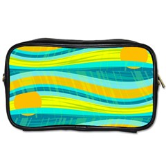 Yellow And Blue Decorative Design Toiletries Bags 2 Side by Valentinaart
