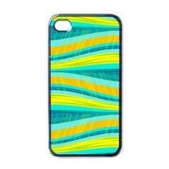Yellow And Blue Decorative Design Apple Iphone 4 Case (black) by Valentinaart