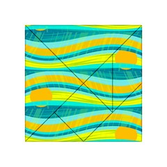 Yellow And Blue Decorative Design Acrylic Tangram Puzzle (4  X 4 ) by Valentinaart