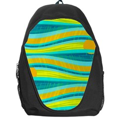 Yellow And Blue Decorative Design Backpack Bag by Valentinaart