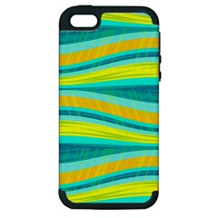 Yellow And Blue Decorative Design Apple Iphone 5 Hardshell Case (pc+silicone) by Valentinaart