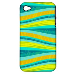 Yellow And Blue Decorative Design Apple Iphone 4/4s Hardshell Case (pc+silicone) by Valentinaart