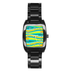 Yellow And Blue Decorative Design Stainless Steel Barrel Watch by Valentinaart