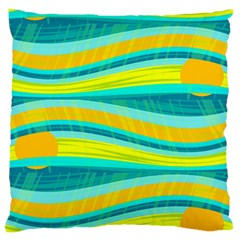 Yellow And Blue Decorative Design Large Flano Cushion Case (one Side) by Valentinaart