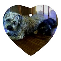 Border Terrier Brothers Heart Ornament (2 Sides) by TailWags