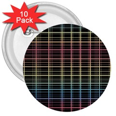 Neon Plaid Design 3  Buttons (10 Pack)  by Valentinaart