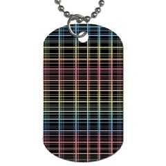Neon Plaid Design Dog Tag (two Sides) by Valentinaart