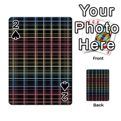 Neon Plaid Design Playing Cards 54 Designs  by Valentinaart