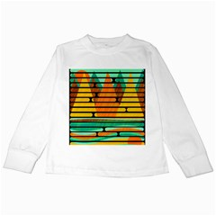 Decorative Autumn Landscape Kids Long Sleeve T Shirts by Valentinaart